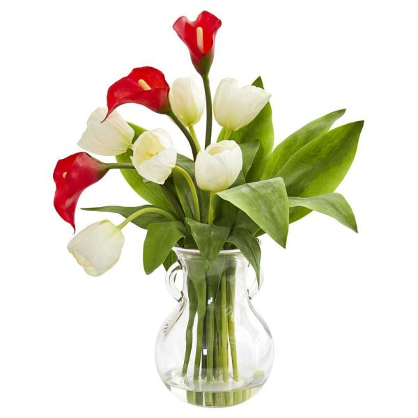 Nearly Natural Indoor Calla Lily And Tulips Artificial Arrangement In Decorative Vase