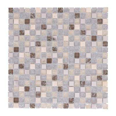 Terrazas Micro Squares Mix Fendi 12 in. x 12 in. x 6mm Glass Steel and Stones Mosaic Tile