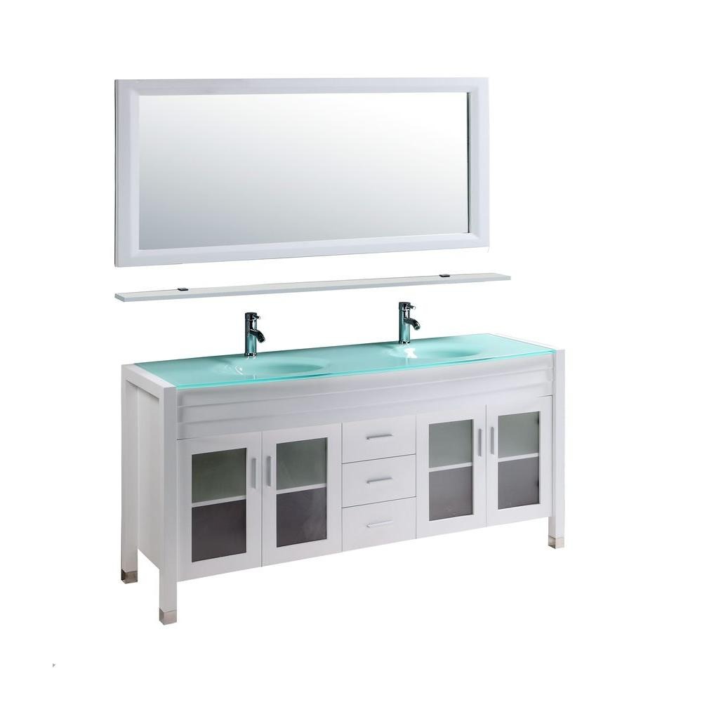 Double Vanity White Glass Vanity Top Aqua Green Mirror