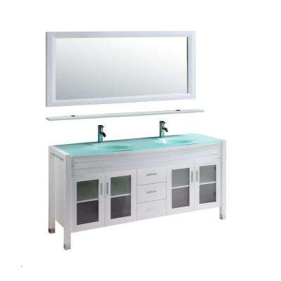 Amriel 59 in. Double Vanity in White with Glass Vanity Top in Aqua Green and Mirror
