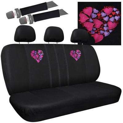 Polyester Seat Covers Set 24 in. L x 1 in. W x 40 in. H 8-Piece Embroidered Hearts within Heart Bench Seat Cover