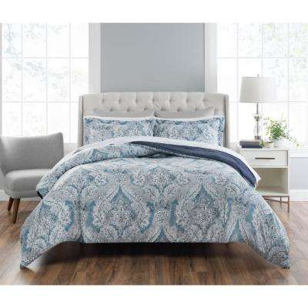 Colletta 3-Piece Printed Blue/Multi Queen Comforter Set