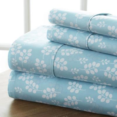 4-Piece Pale Blue Floral Microfiber California King Sheet Set