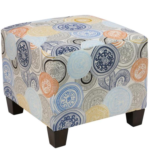 Undefined Painterly Medallion Multi Square Ottoman