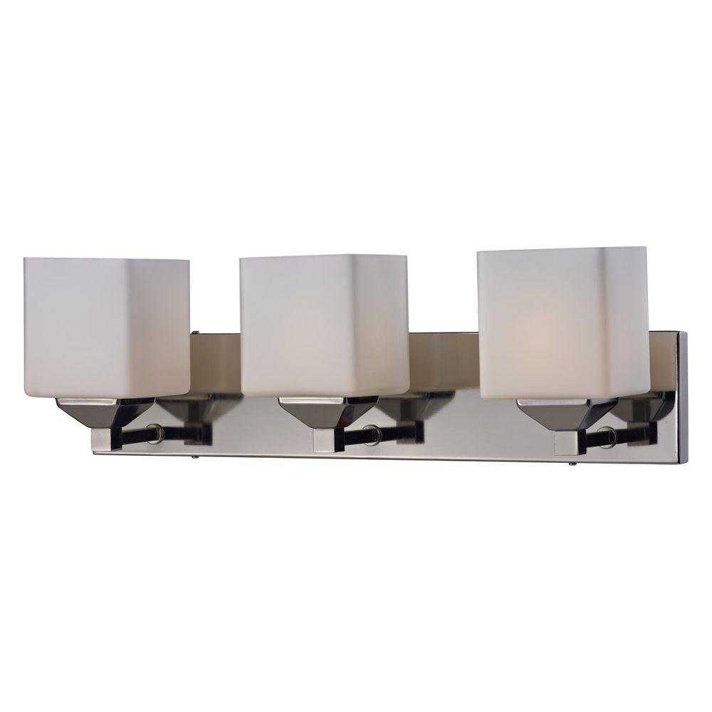 Lawrence 3-Light Chrome and Matte Opal Incandescent Bath Vanity Light