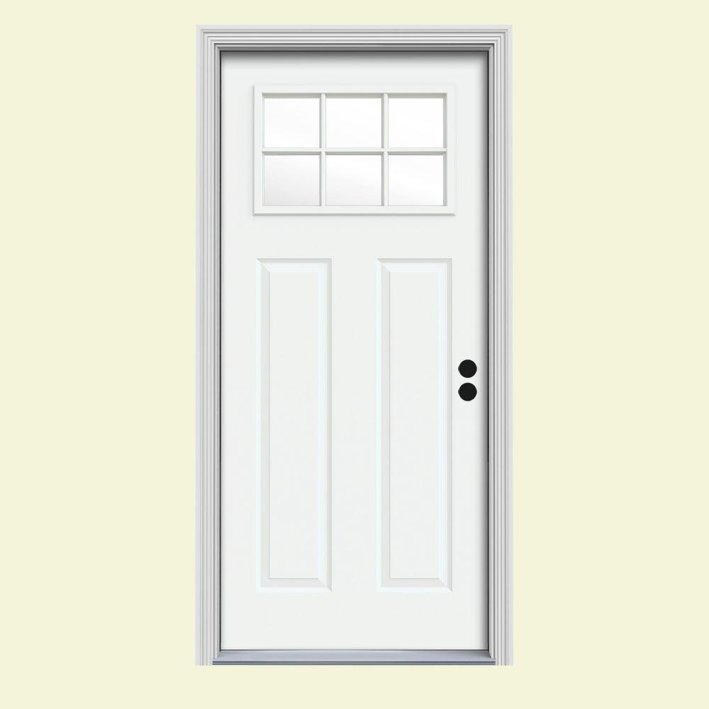 JELD-WEN 32 in. x 80 in. 6 Lite Craftsman White Painted Steel Prehung Left-Hand Inswing Front Door w/Brickmould