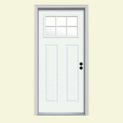 34 in. x 80 in. 6 Lite Craftsman White Painted Steel Prehung Left-Hand Inswing Front Door w/Brickmould