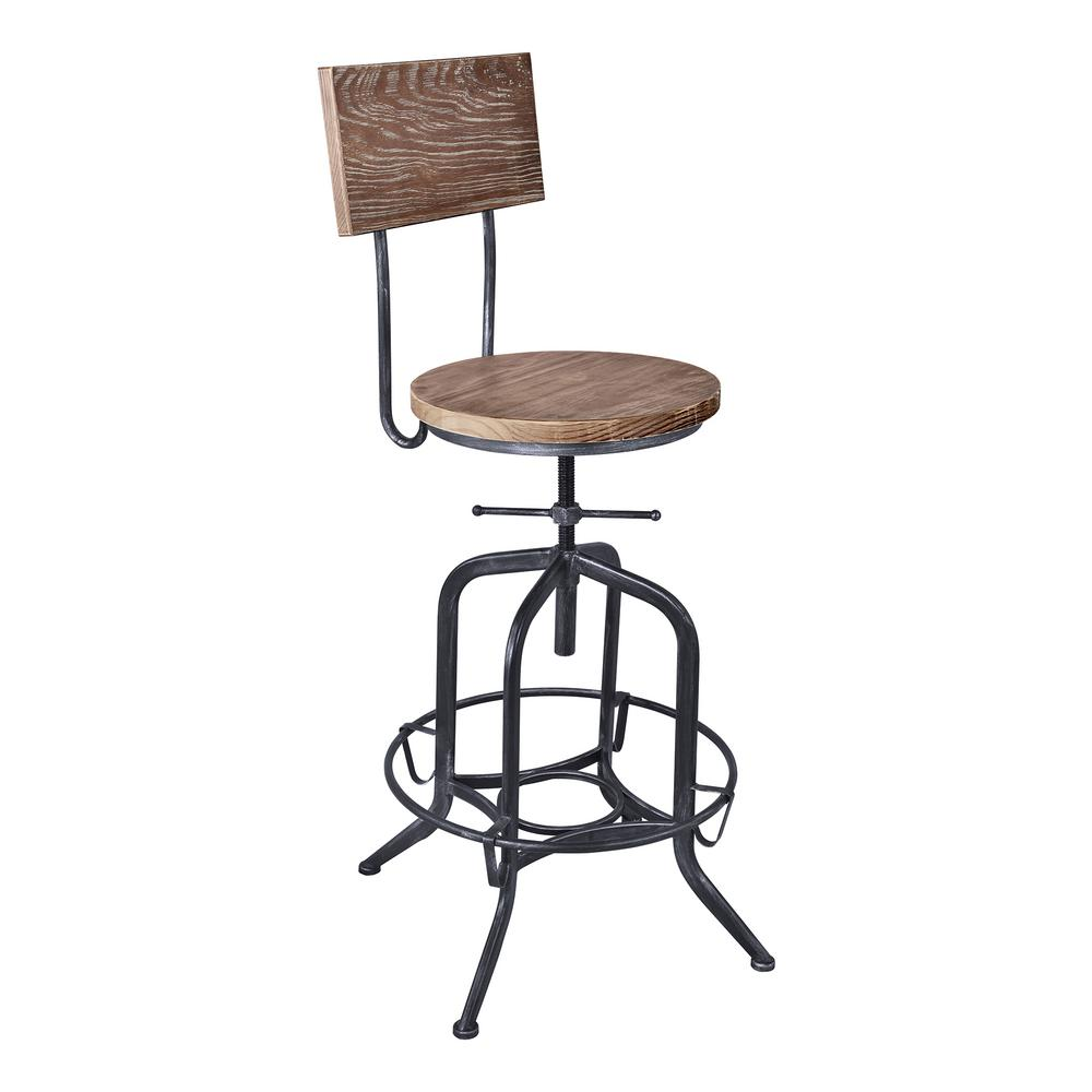 Armen Living Magnus Grey Adjule Bar Stool