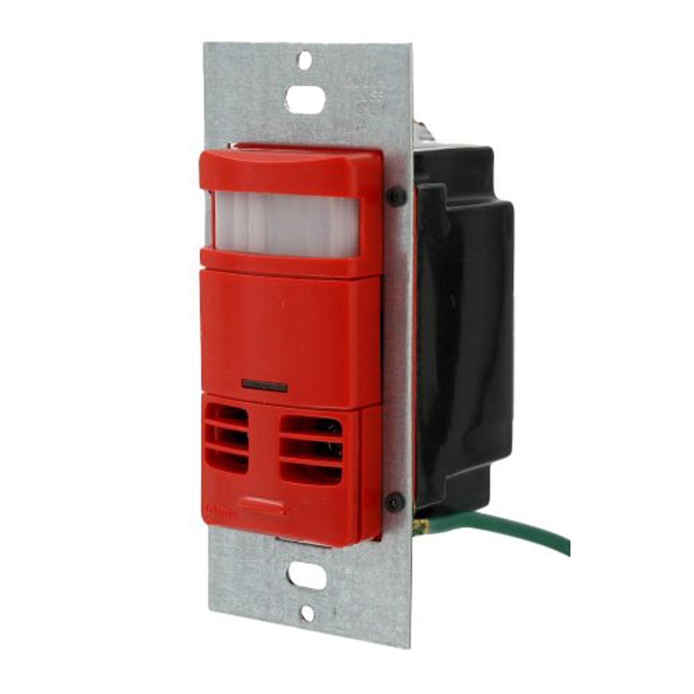 Leviton Passive Infrared/Ultrasonic 2400 sq. ft. 180-Degree Single-Pole Dual Relay Occupancy Sensor, Red