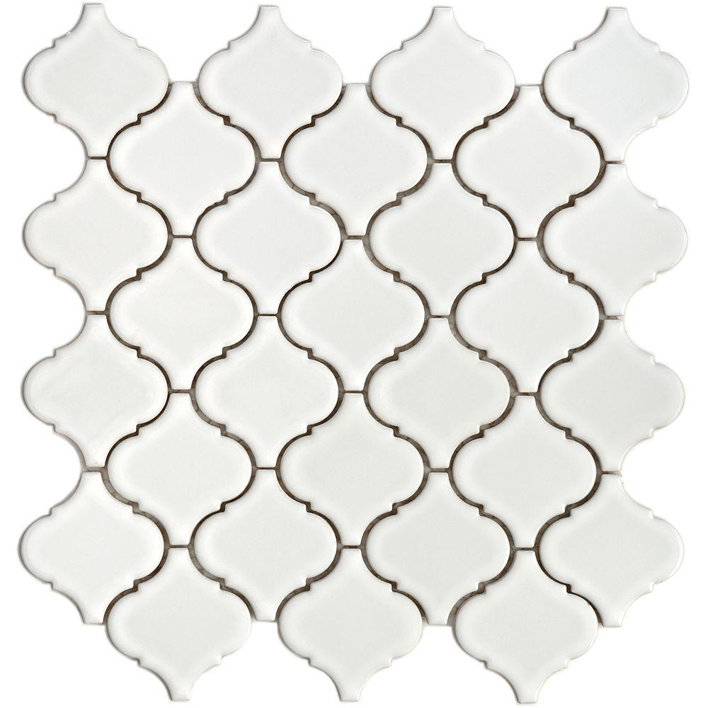 Merola Tile Lantern 12-1/2 in. x 12-1/2 in. x 5 mm White Porcelain Mesh-Mounted Mosaic Tile (11 sq. ft. /case)-DISCONTINUED