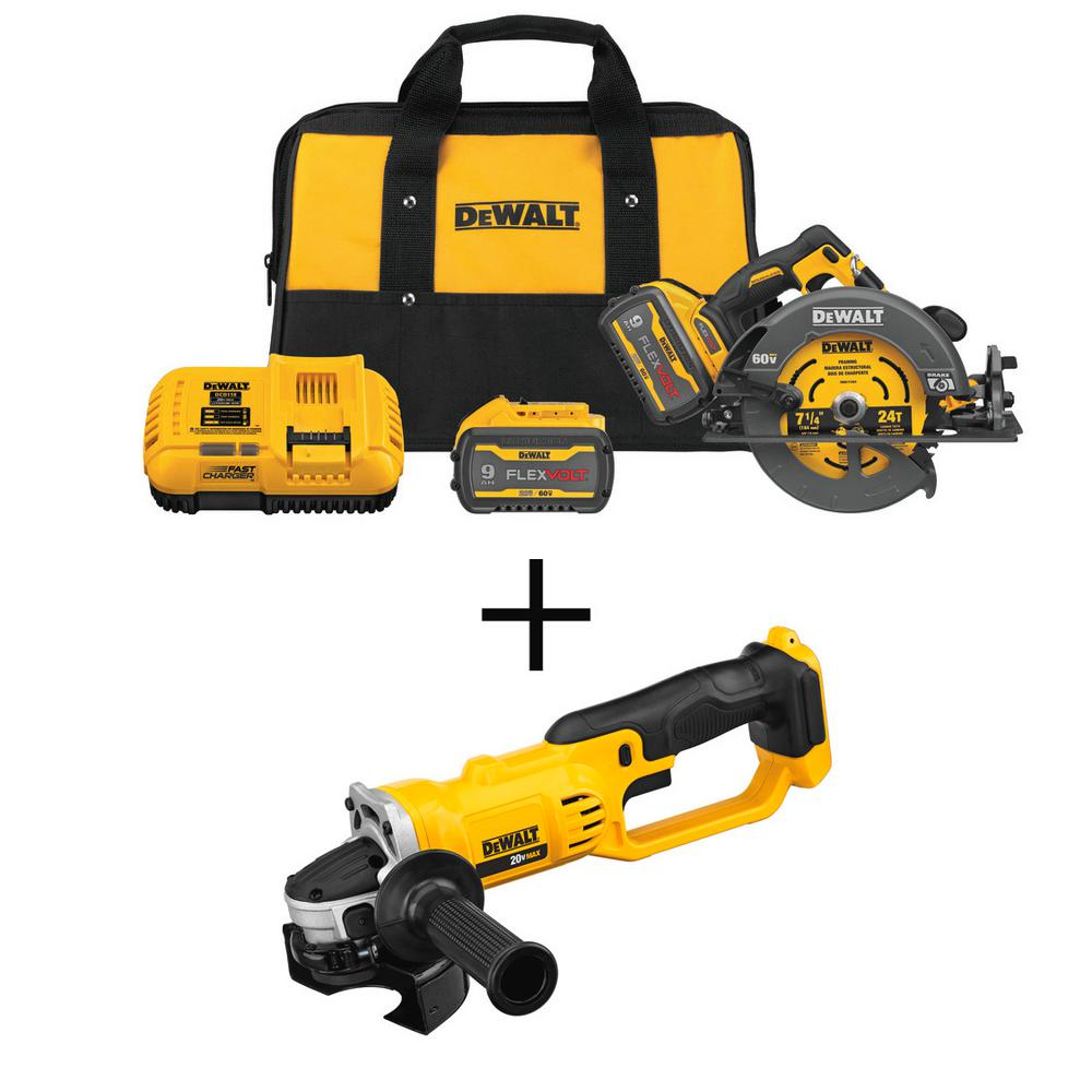 DEWALT FLEXVOLT 60-Volt MAX Li-Ion 7-1/4 inch Cordless Brushless Circ Saw Kit w/ 20V Cordless 4-1/2 - 5 inch Grinder(Tool Only)