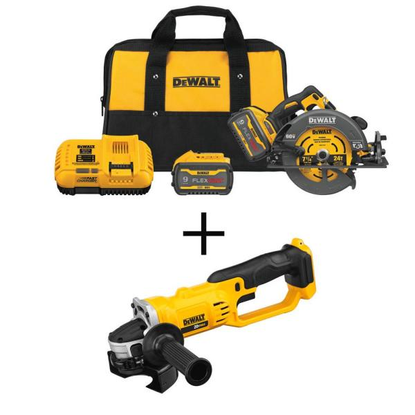 FLEXVOLT 60-Volt MAX Li-Ion 7-1/4 in. Cordless Brushless Circ Saw Kit w/ 20V Cordless 4-1/2 - 5 in. Grinder(Tool Only)