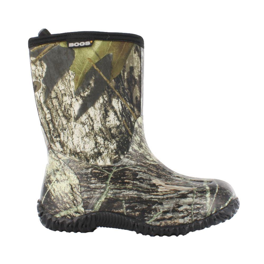 Classic Mid Camo Kids 9 in. Size 11 Mossy Oak Rubber with Neoprene Waterproof Boot