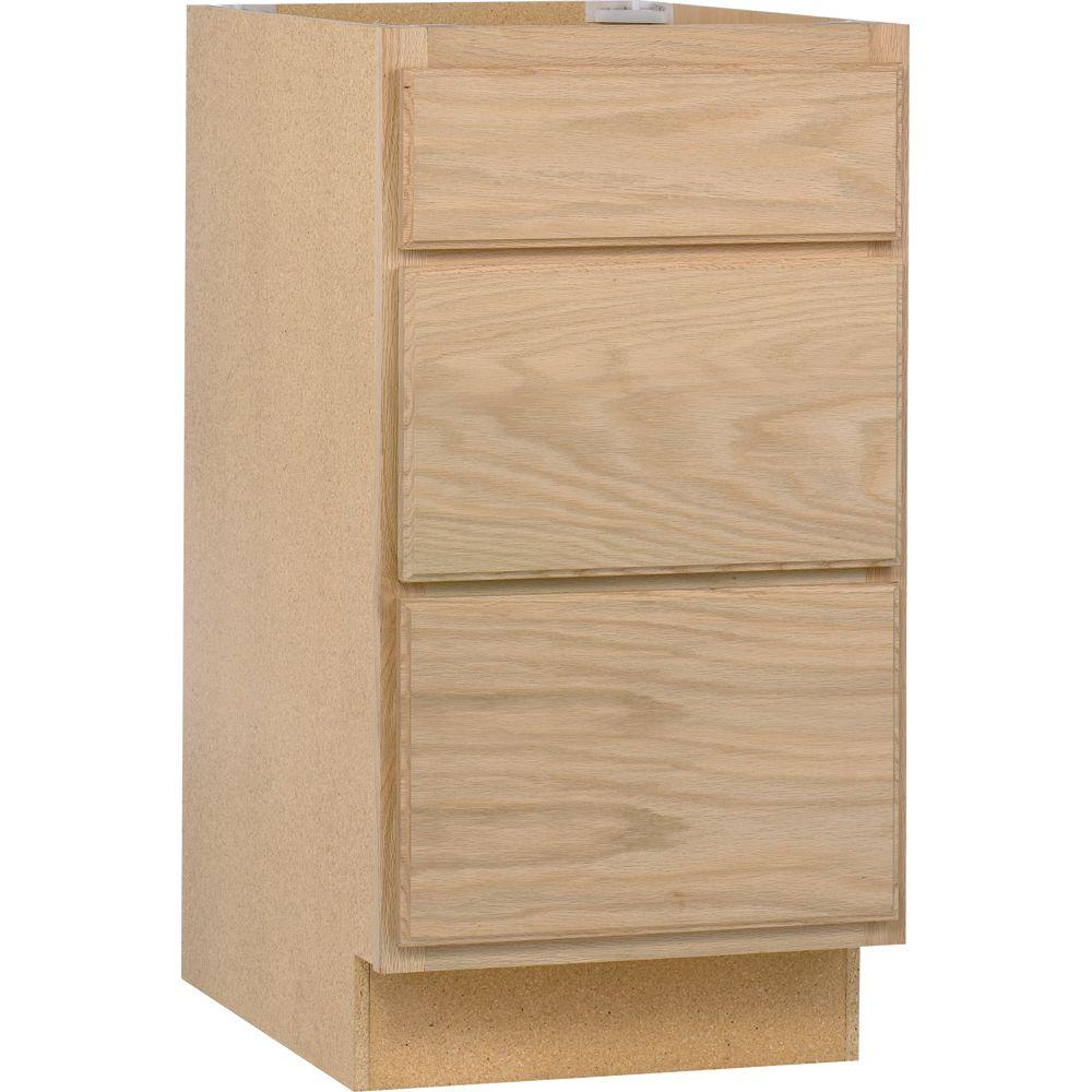 Base Kitchen Cabinet With 3 Drawers In Unfinished Oak