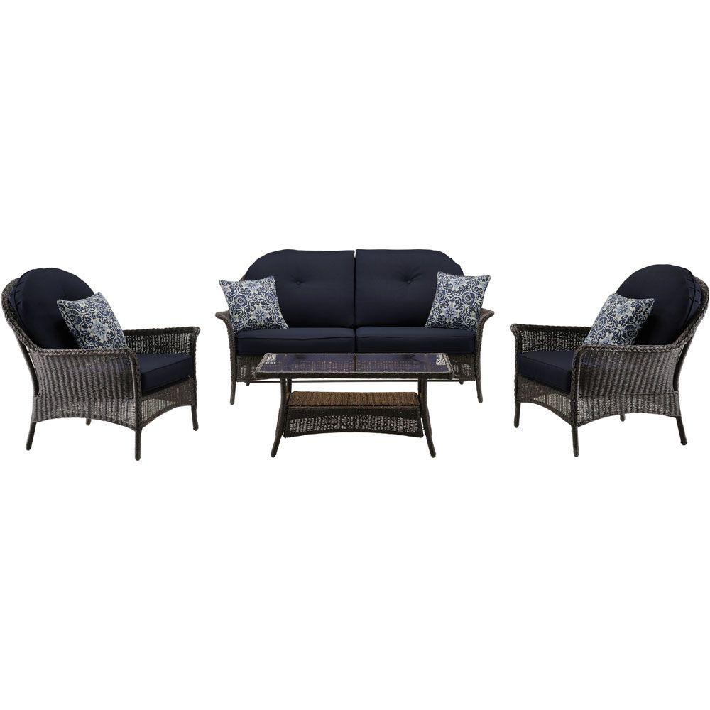 San Marino 4-Piece All-Weather Wicker Patio Seating Set with Navy Blue