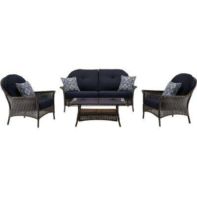 San Marino 4-Piece All-Weather Wicker Patio Seating Set with Navy Blue Cushions