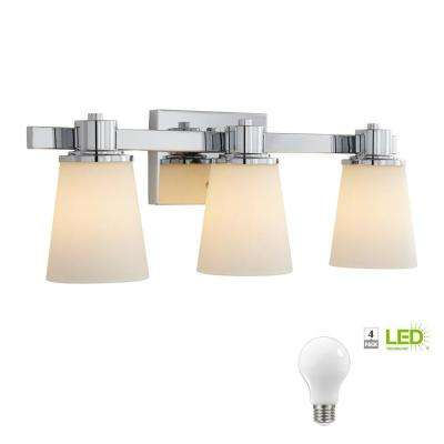 3-Light Chrome Bath Vanity Light with Bell Shaped Etched White Glass, Dimmable LED Soft White Bulbs Included