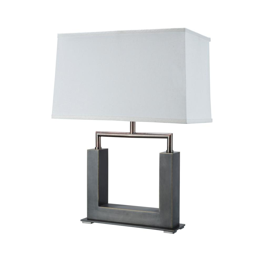 Matte Brushed Nickel Metal Table Lamp With Rectangle Hardback Shaped Shade In Off White