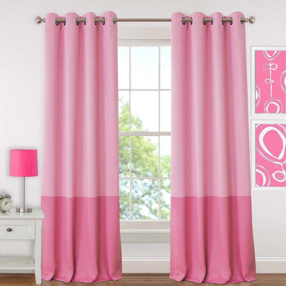 Blackout Juvenile Pink 84 in. Teen or Tween Blackout Room Darkening Grommet Window Curtain Drape Panel