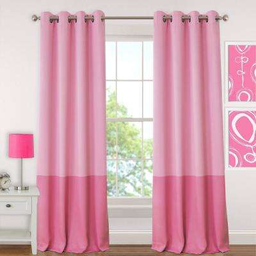 Blackout Juvenile 95 in. Teen or Tween Blackout Room Darkening Grommet Window Curtain Drape Panel in Pink