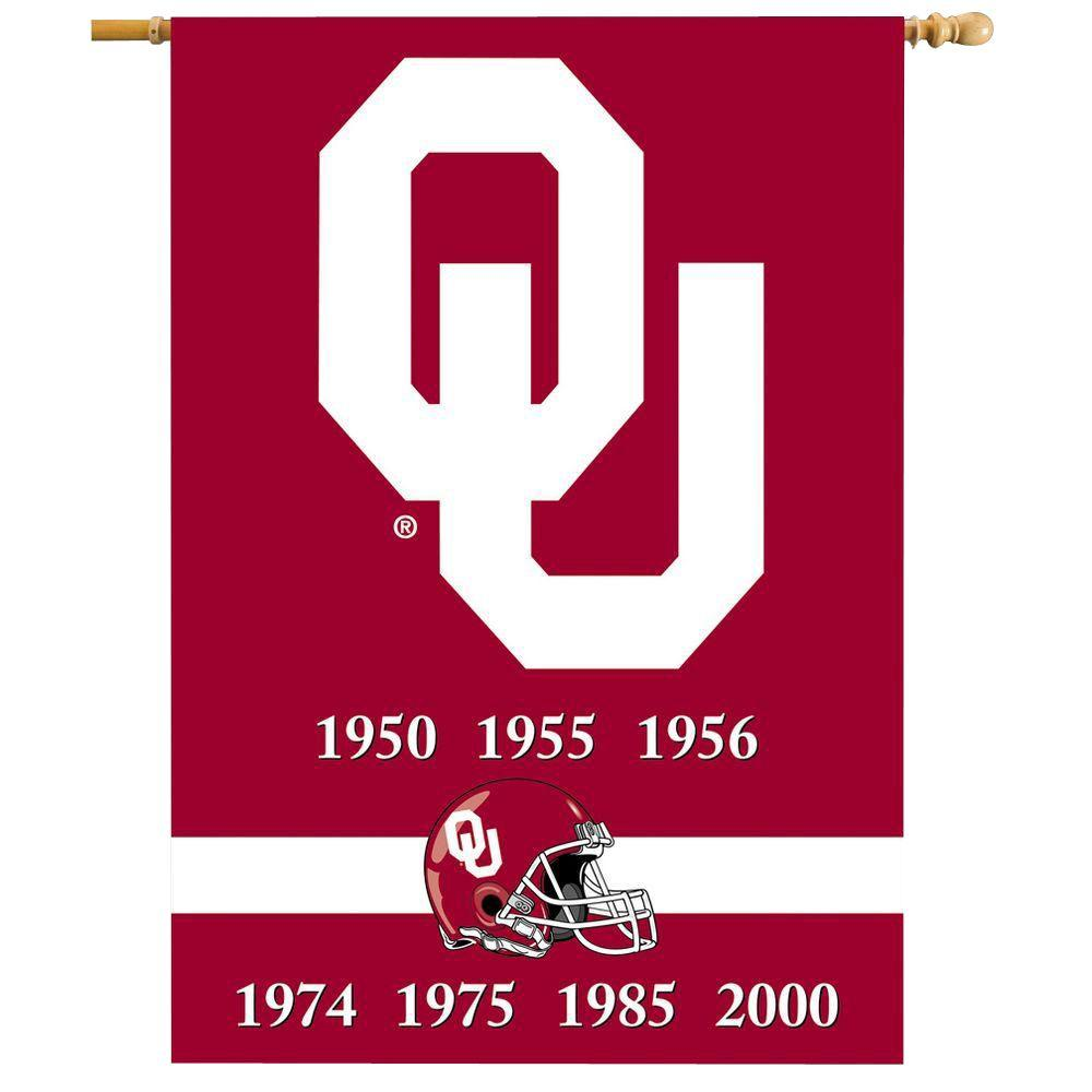 NCAA 28 in. x 40 in. Oklahoma Champ Years 2-Sided Banner