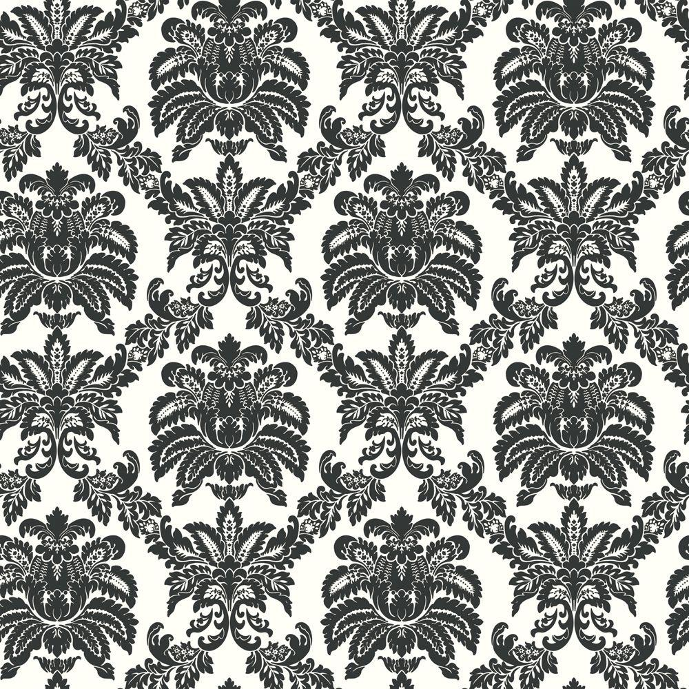 The Wallpaper Company 56 sq. ft. Black and White Sweeping Damask Wallpaper
