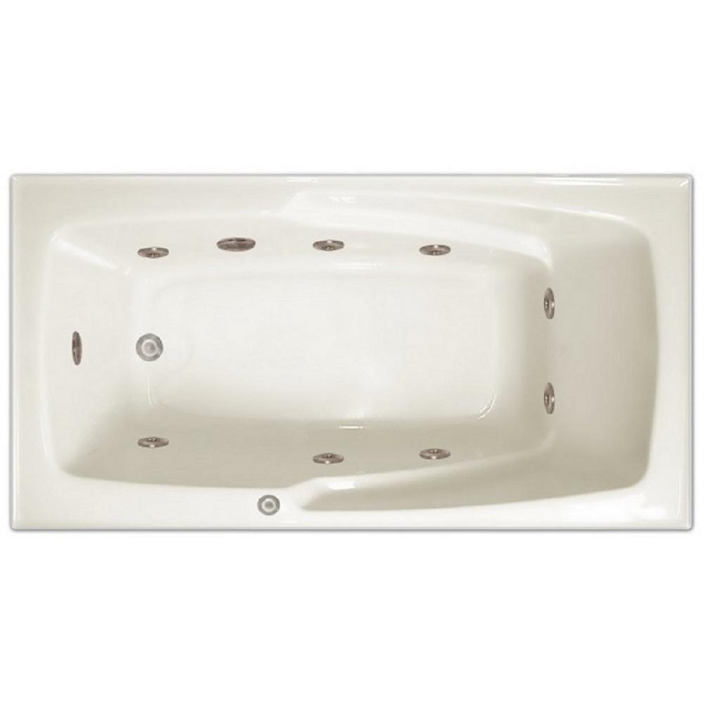 5 ft. Left Drain Drop-in Rectangular Whirlpool Bathtub in White