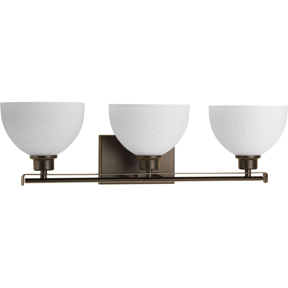 Legend Collection 3-Light Antique Bronze Bathroom Vanity Light with Glass Shades