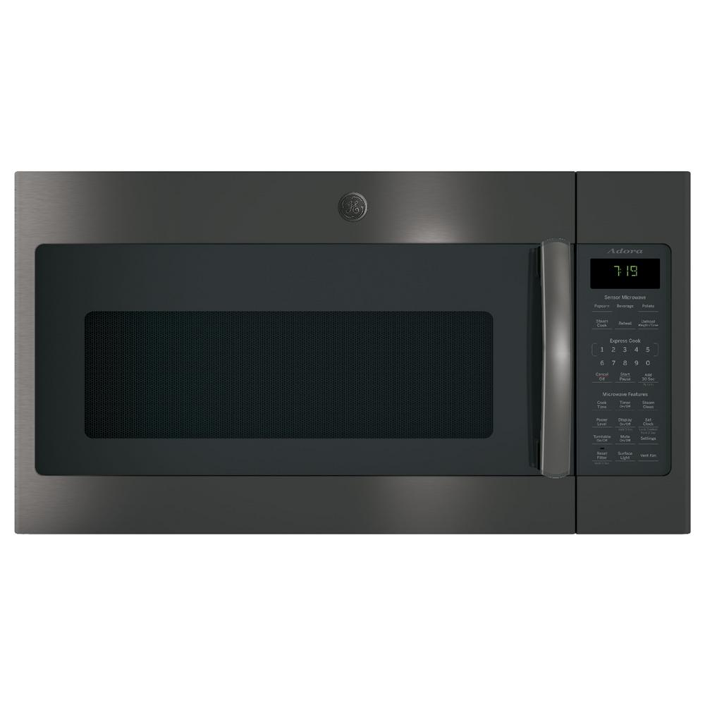 GE Adora 1.9 cu. ft. Over the Range Microwave in Black Stainless Steel with Sensor Cooking, Fingerprint Resistant
