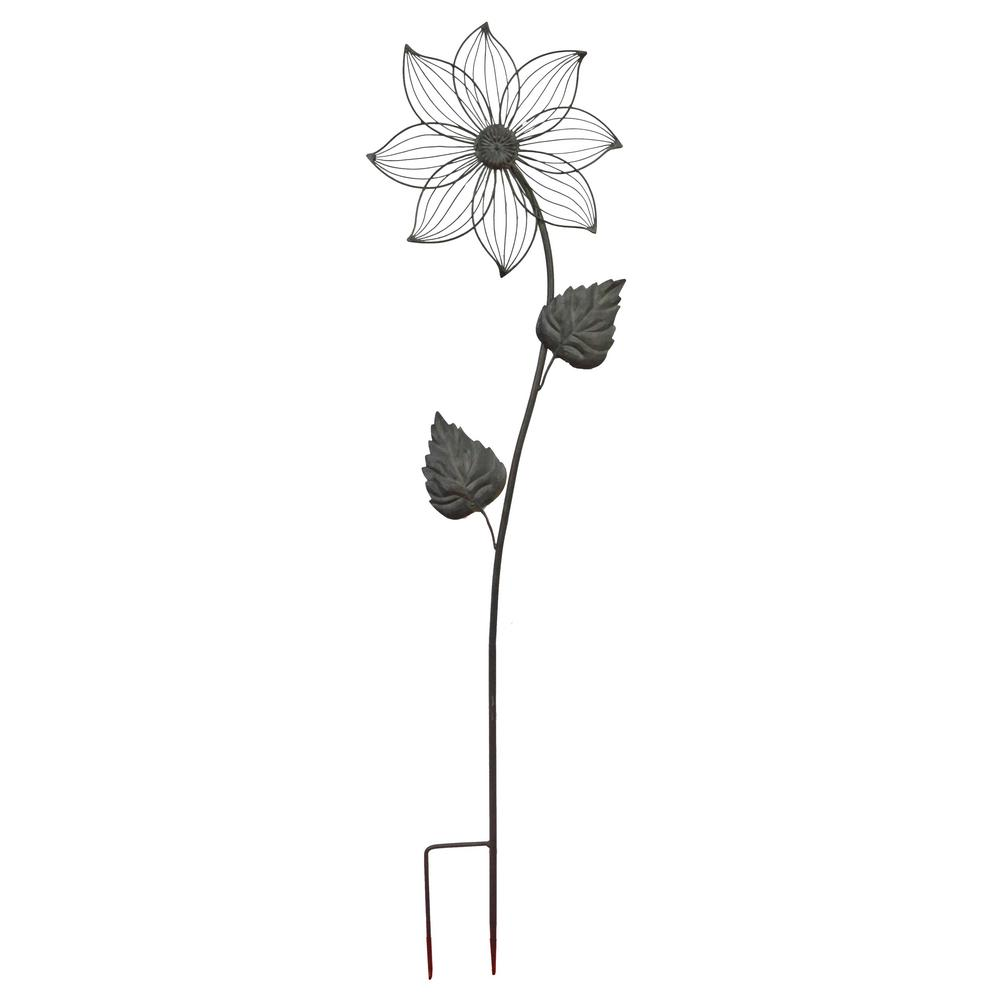 50 in. Forest Green Daisy Metal Garden Stake