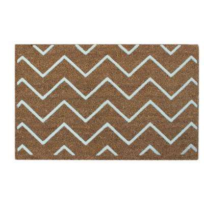 A1HC First Impression Rosway Chevron Flocked 18 in. x 30 in. Coir Door Mat