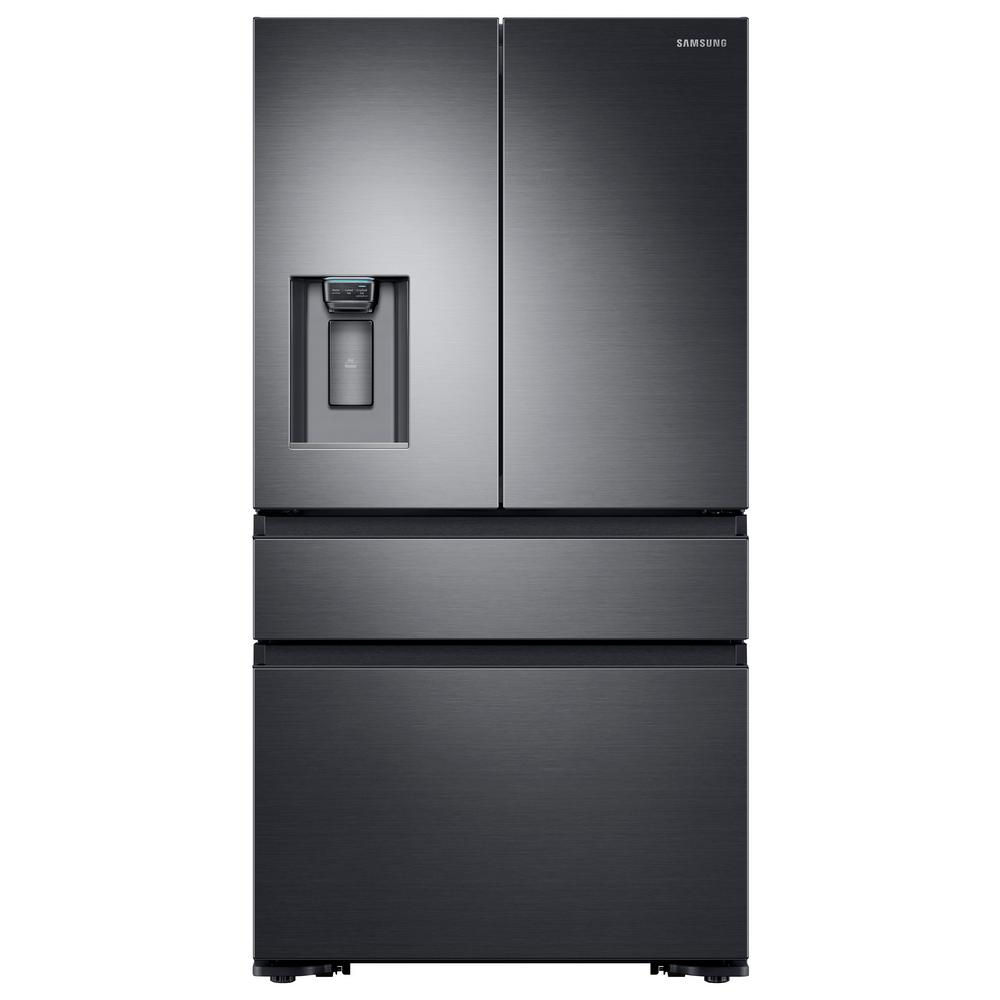 Samsung 22.6 cu. ft. 4-Door French Door Refrigerator with Recessed Handle in Black Stainless, Counter Depth