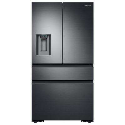 22.6 cu. ft. 4-Door French Door Refrigerator with Recessed Handle in Black Stainless, Counter Depth