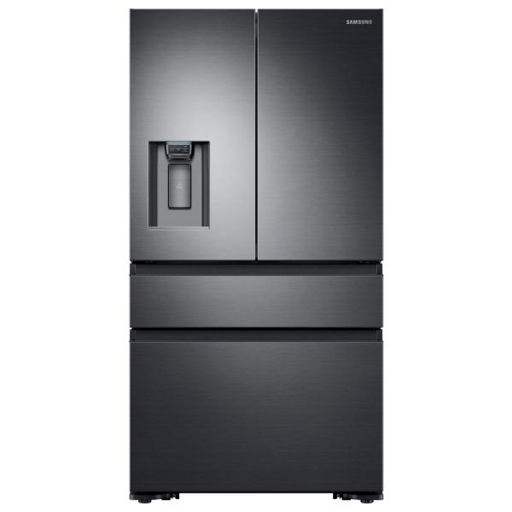 Samsung 22.6 cu. ft. 4-Door French Door Refrigerator with Recessed Handle in Black Stainless, Counter Depth
