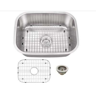 16 Gauge Undermount Stainless Steel 23.4375 in. 0-Hole Bar Single Bowl Kitchen Sink in Brushed Stainless