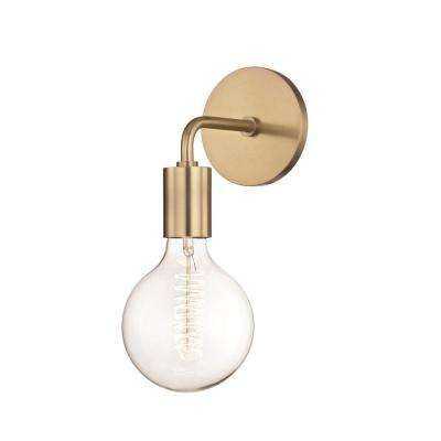 Ava 1-Light Aged Brass 11 in. H Wall Sconce