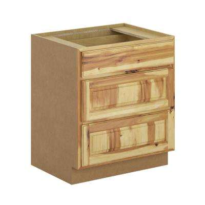 Madison Assembled 30x34.5x24 in. Pots and Pans Drawer Base Cabinet in Hickory