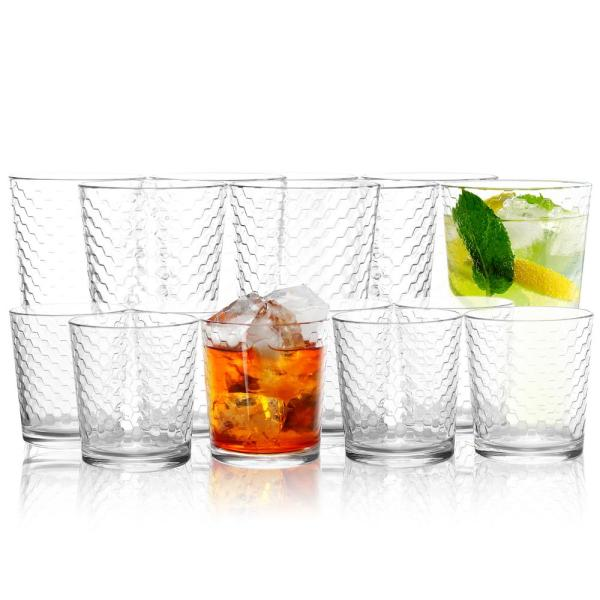 Horizon 16.75 oz. and 13 oz. Clear Glass Double Old Fashioned and Tumbler Glass Set (Set of 16)