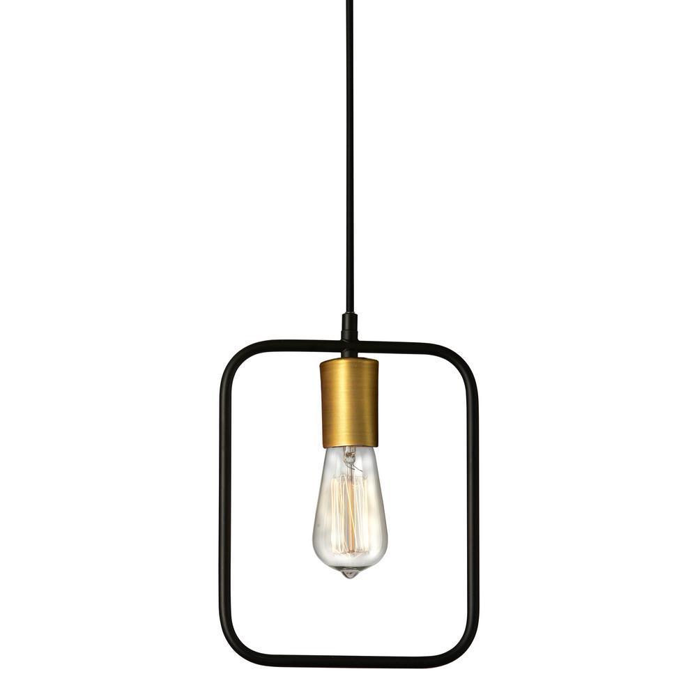 Geometric 1-Light Matte Black Pendant with No Shade
