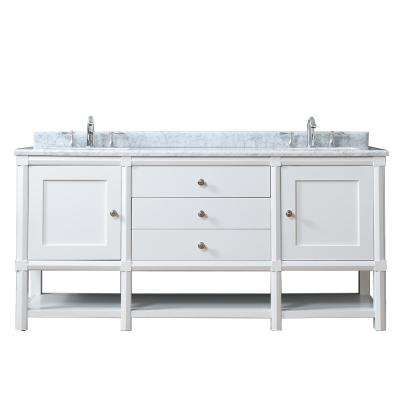 Sutton 72 in. W x 22 in. D Vanity in Bright White with Marble Vanity Top in White/Grey with White Basins
