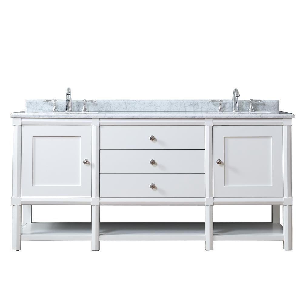 Martha Stewart Living Sutton 72 In W X 22 In D Vanity In Bright White With Marble Vanity Top