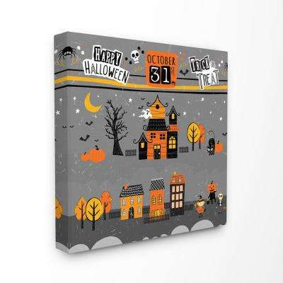 "24 in. x 24 in. ""Black Orange and Grey October 31st Trick Or Treat Houses Night Scene"" by Artist ND Art Canvas Wall Art"