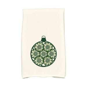 16 inch x 25 inch Dark Green Snowflake Bulb Holiday Geometric Print Kitchen Towel by