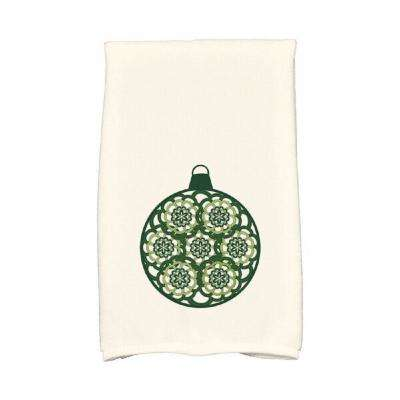 16 in. x 25 in. Dark Green Snowflake Bulb Holiday Geometric Print Kitchen Towel