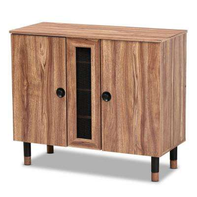 Valina 30 in. H x 35 in. W 8-Pair Oak Wood Shoe Storage Cabinet