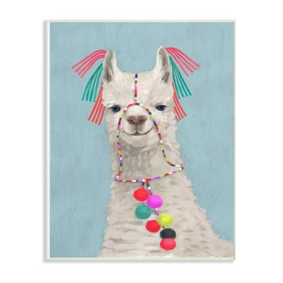 "10 in. x 15 in. ""Llama Adorned in Tassels and Pom Poms Painting"" by Victoria Borges Wood Wall Art"
