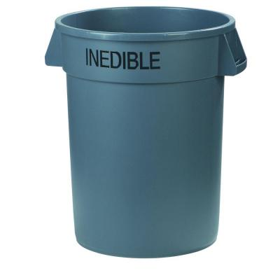 Bronco 44 Gal. Gray Round Trash Can Imprinted with Inedible (3-Pack)