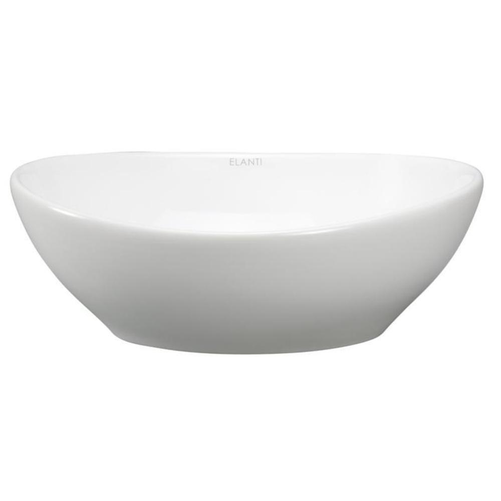 . Elanti Oval Vessel Bathroom Sink in White EC9838   The Home Depot