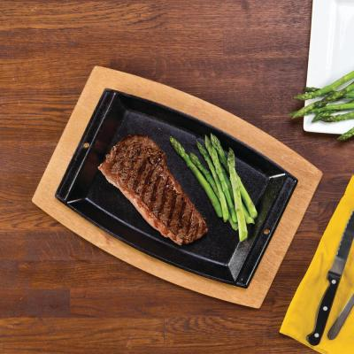 Chef's 9.81 in. Cast Iron Grill Pan in Black