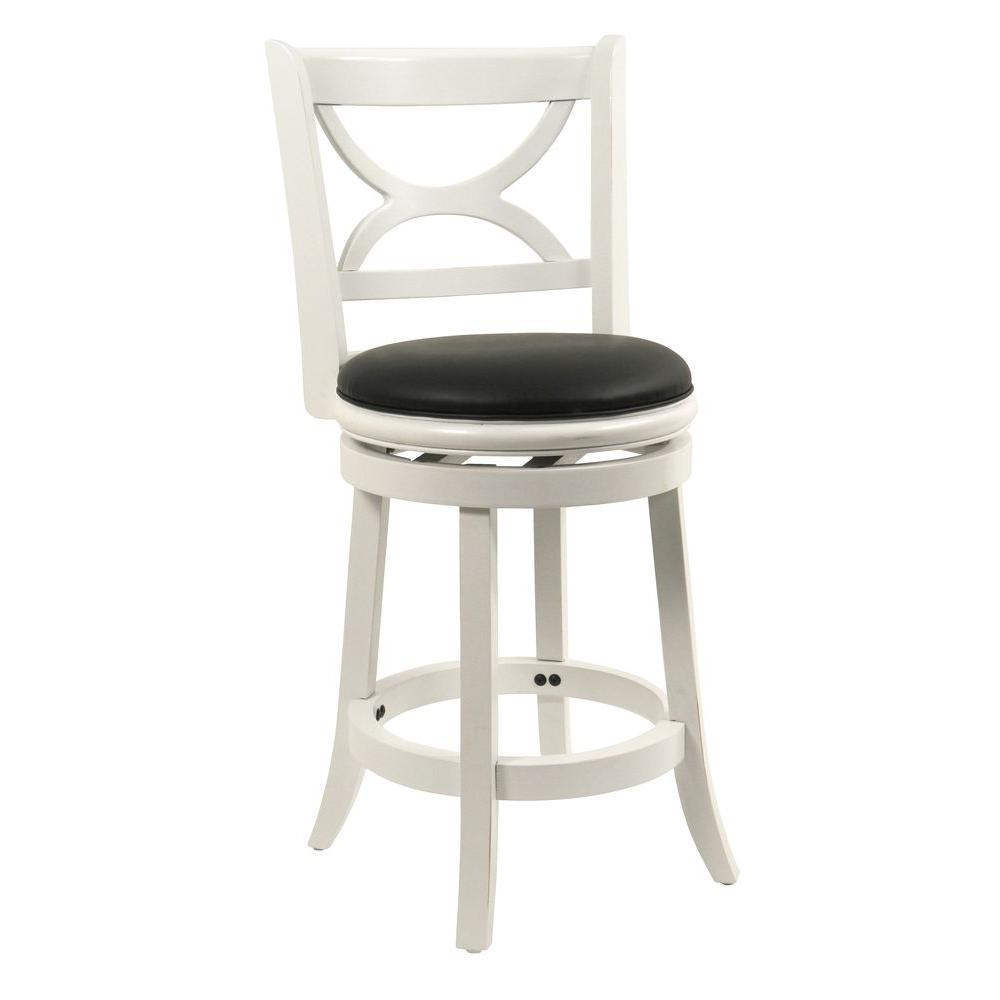 Distressed White Swivel Cushioned Bar Stool
